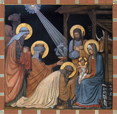 Adoration of the Magi. 19th century. The star shines a beam of light toward the Christ child.